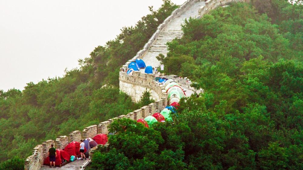 Cắm trại ở đoạn Jiankou của Vạn Lý Trường Thành