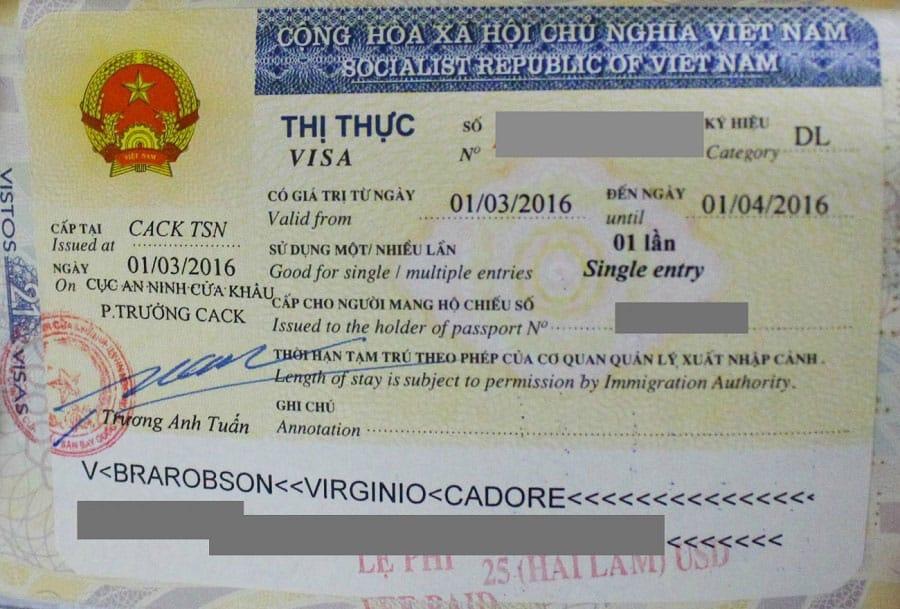 Visa nhập cảnh sân bay Việt Nam mẫu